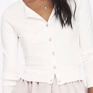 White Express knit cardigan sweater